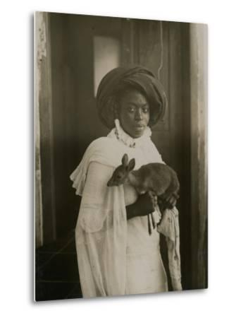 A Stylish Young Kenyan Woman Holding Her Pet Deer-Underwood & Underwood-Metal Print
