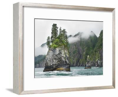 Monoliths at Aialik Cape on a Foggy Day-James Forte-Framed Photographic Print