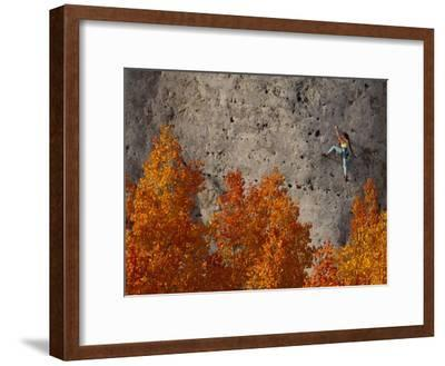 A Female Climber on a Cliff Wall-Bill Hatcher-Framed Photographic Print