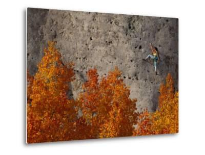 A Female Climber on a Cliff Wall-Bill Hatcher-Metal Print