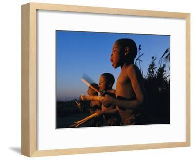 Newly Circumcised Boys from the Luvale Tribe Greet the Dawn-Chris Johns-Framed Photographic Print