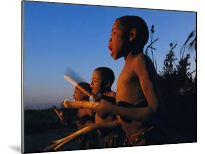 Newly Circumcised Boys from the Luvale Tribe Greet the Dawn-Chris Johns-Mounted Photographic Print