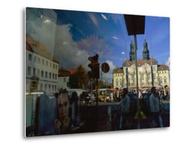A Window Reflection of Luneburg's Town Hall-Sisse Brimberg-Metal Print