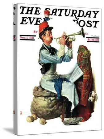 """""""Trumpeter"""" Saturday Evening Post Cover, November 7,1931-Norman Rockwell-Stretched Canvas Print"""