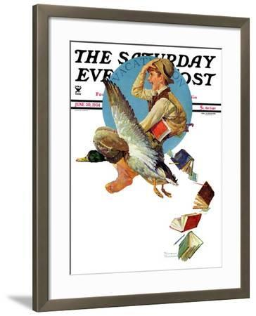 """""""Summer Vacation, 1934"""" Saturday Evening Post Cover, June 30,1934-Norman Rockwell-Framed Giclee Print"""
