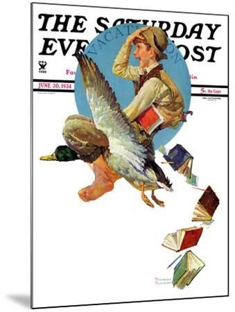 """""""Summer Vacation, 1934"""" Saturday Evening Post Cover, June 30,1934-Norman Rockwell-Mounted Giclee Print"""