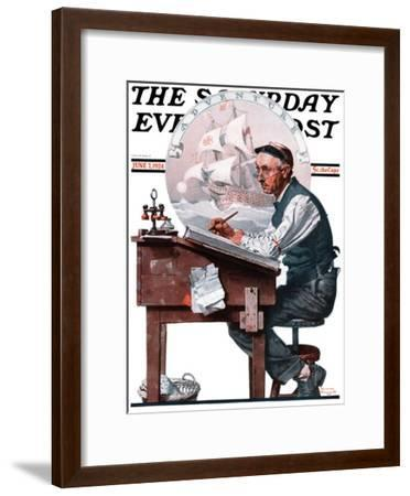 """""""Escape to Adventure"""" Saturday Evening Post Cover, June 7,1924-Norman Rockwell-Framed Giclee Print"""