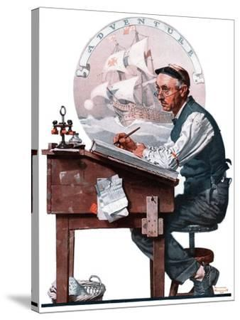 """""""Escape to Adventure"""", June 7,1924-Norman Rockwell-Stretched Canvas Print"""