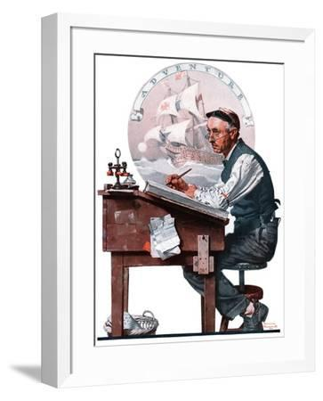 """""""Escape to Adventure"""", June 7,1924-Norman Rockwell-Framed Premium Giclee Print"""