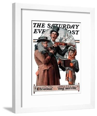 """Christmas Trio"" or ""Sing Merrille"" Saturday Evening Post Cover, December 8,1923-Norman Rockwell-Framed Premium Giclee Print"