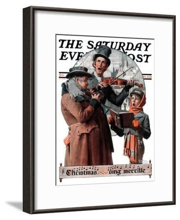 """Christmas Trio"" or ""Sing Merrille"" Saturday Evening Post Cover, December 8,1923-Norman Rockwell-Framed Giclee Print"