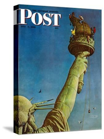 """""""Working on the Statue of Liberty"""" Saturday Evening Post Cover, July 6,1946-Norman Rockwell-Stretched Canvas Print"""