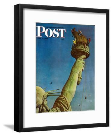 """""""Working on the Statue of Liberty"""" Saturday Evening Post Cover, July 6,1946-Norman Rockwell-Framed Premium Giclee Print"""
