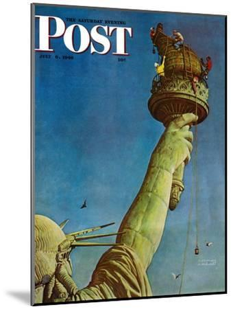 """""""Working on the Statue of Liberty"""" Saturday Evening Post Cover, July 6,1946-Norman Rockwell-Mounted Premium Giclee Print"""