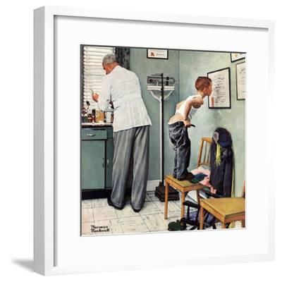 """""""Before the Shot"""" or """"At the Doctor's"""" Saturday Evening Post Cover, March 15,1958-Norman Rockwell-Framed Giclee Print"""