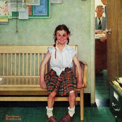 """Shiner"" or ""Outside the Principal's Office"" Saturday Evening Post Cover, May 23,1953-Norman Rockwell-Stretched Canvas Print"
