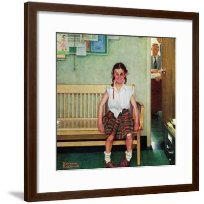 """""""Shiner"""" or """"Outside the Principal's Office"""" Saturday Evening Post Cover, May 23,1953-Norman Rockwell-Framed Giclee Print"""