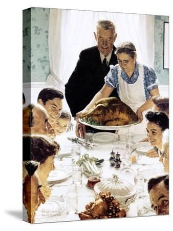 """""""Freedom From Want"""", March 6,1943-Norman Rockwell-Stretched Canvas Print"""