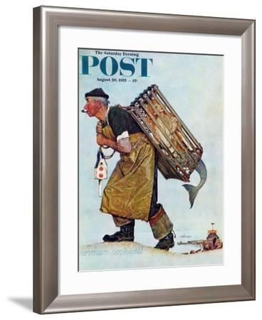 """Mermaid"" or ""Lobsterman"" Saturday Evening Post Cover, August 20,1955-Norman Rockwell-Framed Giclee Print"