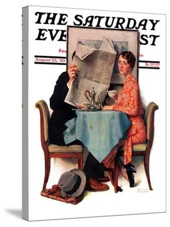 """Breakfast Table"" or ""Behind the Newspaper"" Saturday Evening Post Cover, August 23,1930-Norman Rockwell-Stretched Canvas Print"