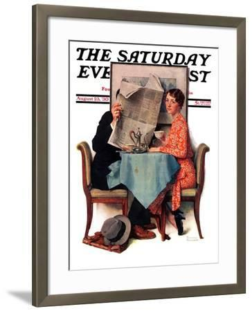 """Breakfast Table"" or ""Behind the Newspaper"" Saturday Evening Post Cover, August 23,1930-Norman Rockwell-Framed Giclee Print"