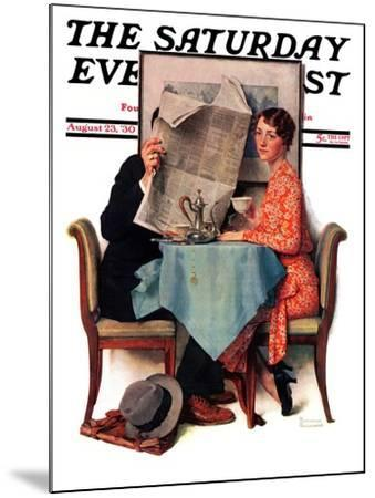 """Breakfast Table"" or ""Behind the Newspaper"" Saturday Evening Post Cover, August 23,1930-Norman Rockwell-Mounted Giclee Print"