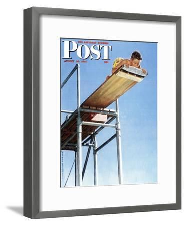 """""""Boy on High Dive"""" Saturday Evening Post Cover, August 16,1947-Norman Rockwell-Framed Premium Giclee Print"""