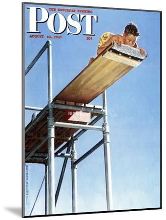 """""""Boy on High Dive"""" Saturday Evening Post Cover, August 16,1947-Norman Rockwell-Mounted Premium Giclee Print"""