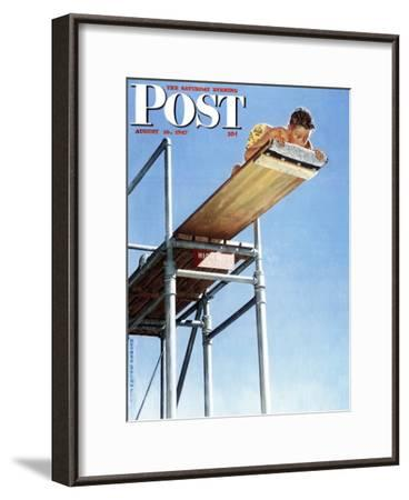 """""""Boy on High Dive"""" Saturday Evening Post Cover, August 16,1947-Norman Rockwell-Framed Giclee Print"""