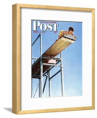 """Boy on High Dive"" Saturday Evening Post Cover, August 16,1947-Norman Rockwell-Framed Giclee Print"