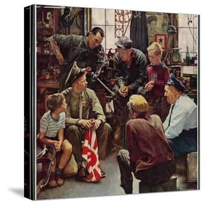 """""""Homecoming Marine"""", October 13,1945-Norman Rockwell-Stretched Canvas Print"""