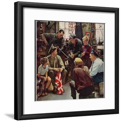 """""""Homecoming Marine"""", October 13,1945-Norman Rockwell-Framed Premium Giclee Print"""