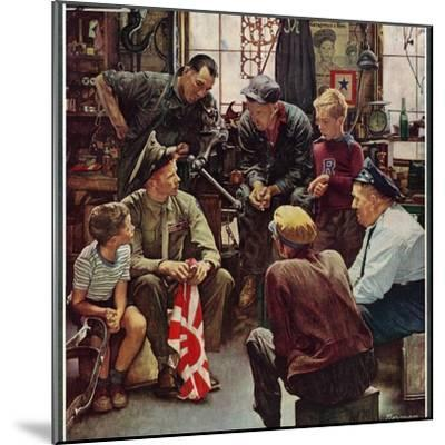 """""""Homecoming Marine"""", October 13,1945-Norman Rockwell-Mounted Premium Giclee Print"""