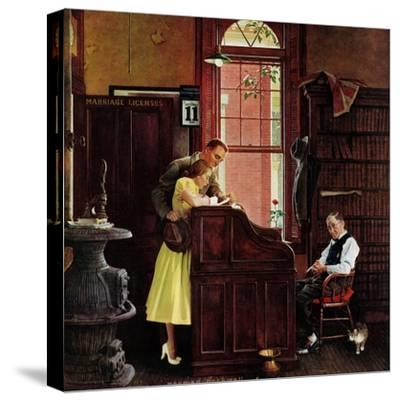 """Marriage License"", June 11,1955-Norman Rockwell-Stretched Canvas Print"