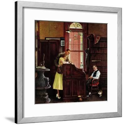 """Marriage License"", June 11,1955-Norman Rockwell-Framed Premium Giclee Print"