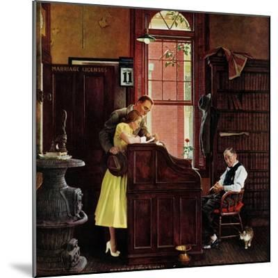 """Marriage License"", June 11,1955-Norman Rockwell-Mounted Premium Giclee Print"