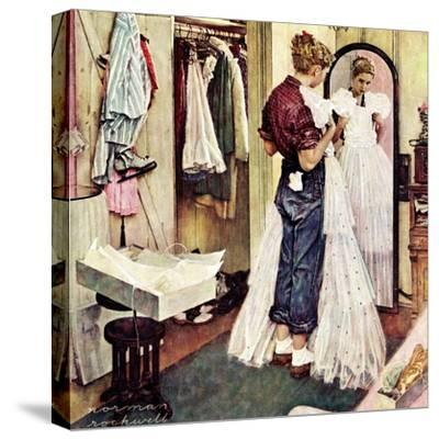 """Prom Dress"", March 19,1949-Norman Rockwell-Stretched Canvas Print"