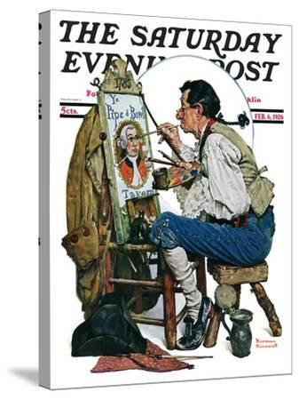"""""""Colonial Sign Painter"""" Saturday Evening Post Cover, February 6,1926-Norman Rockwell-Stretched Canvas Print"""