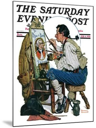 """""""Colonial Sign Painter"""" Saturday Evening Post Cover, February 6,1926-Norman Rockwell-Mounted Giclee Print"""