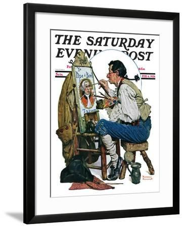 """""""Colonial Sign Painter"""" Saturday Evening Post Cover, February 6,1926-Norman Rockwell-Framed Giclee Print"""