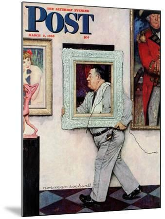 """""""Picture Hanger"""" or """"Museum Worker"""" Saturday Evening Post Cover, March 2,1946-Norman Rockwell-Mounted Giclee Print"""