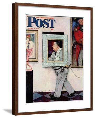 """""""Picture Hanger"""" or """"Museum Worker"""" Saturday Evening Post Cover, March 2,1946-Norman Rockwell-Framed Giclee Print"""