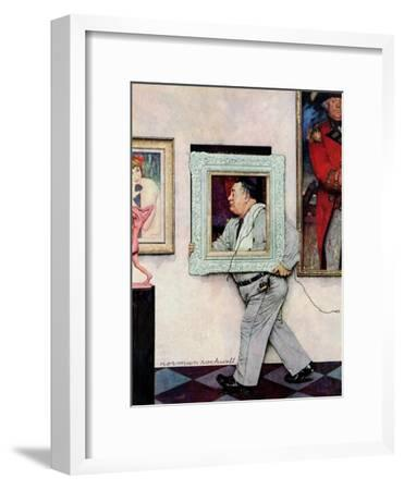 """Picture Hanger"" or ""Museum Worker"", March 2,1946-Norman Rockwell-Framed Giclee Print"