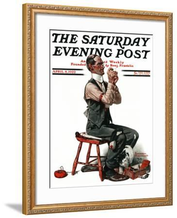 """""""Threading the Needle"""" Saturday Evening Post Cover, April 8,1922-Norman Rockwell-Framed Giclee Print"""