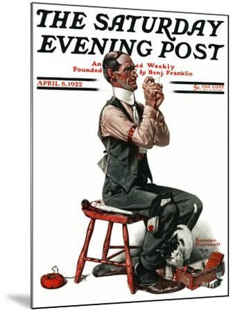 """""""Threading the Needle"""" Saturday Evening Post Cover, April 8,1922-Norman Rockwell-Mounted Giclee Print"""