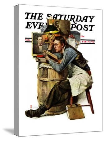 """""""Law Student"""" Saturday Evening Post Cover, February 19,1927-Norman Rockwell-Stretched Canvas Print"""
