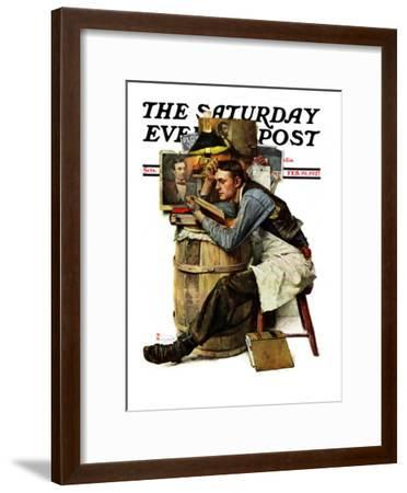 """""""Law Student"""" Saturday Evening Post Cover, February 19,1927-Norman Rockwell-Framed Premium Giclee Print"""