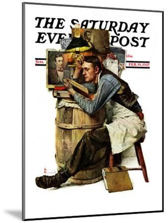 """""""Law Student"""" Saturday Evening Post Cover, February 19,1927-Norman Rockwell-Mounted Premium Giclee Print"""