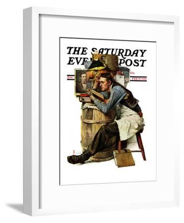 """""""Law Student"""" Saturday Evening Post Cover, February 19,1927-Norman Rockwell-Framed Giclee Print"""
