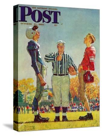 """""""Coin Toss"""" Saturday Evening Post Cover, October 21,1950-Norman Rockwell-Stretched Canvas Print"""